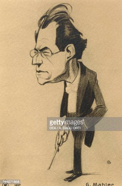 Caricature of Gustav Mahler Austrian conductor and composer of Bohemian origin Vienna Historisches Museum Der Stadt Wien