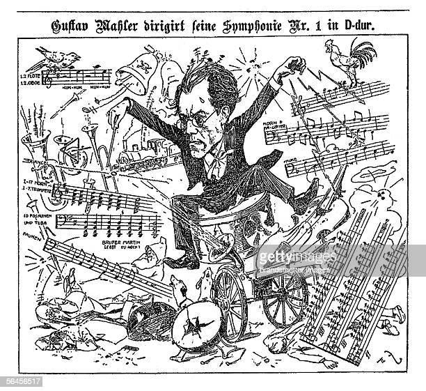 Caricature of Gustav Mahler Conducts his Symphony no 1 n Ddur From' Illustriertes Wiener Extrablatt' 25th of November 1900 [Gustav Mahler dirigirt...