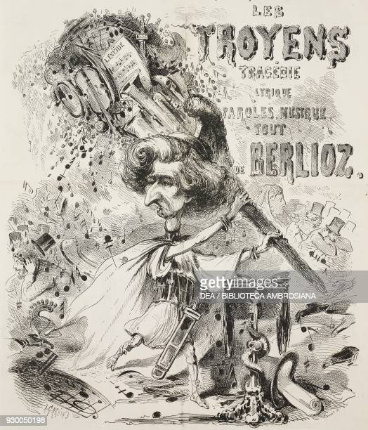 Caricature of Hector Berlioz and the opera Les Troyens at the Teatro Lirico in Paris France illustration by Alfred Grevin from the Journal Amusant No...
