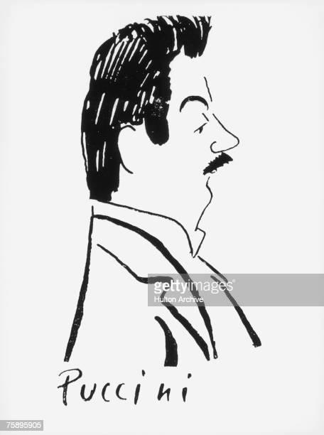 Caricature of Italian operatic composer Giacomo Puccini , circa 1900.