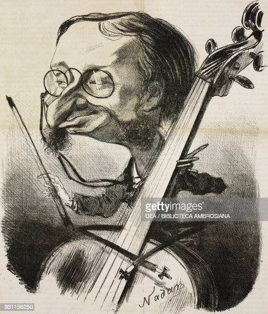 Caricature of Jacques Offenbach French composer of German origin illustration by Nadar and Edouard Riou from the Journal pour rire Journal Amusant No...