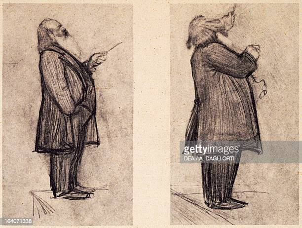 Caricature of Johannes Brahms conducting an orchestra Vienna HaydnMuseum