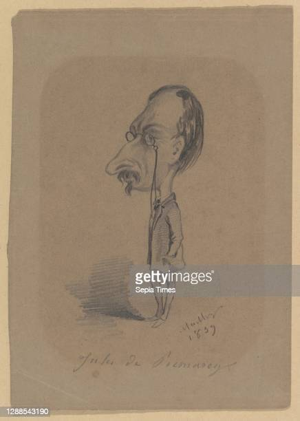 Caricature of Jules de Prémaray Black chalk on brown paper, Sheet: 7 5/8 x 5 3/8 in. , Drawings, Hippolyte Mailly , After Nadar .