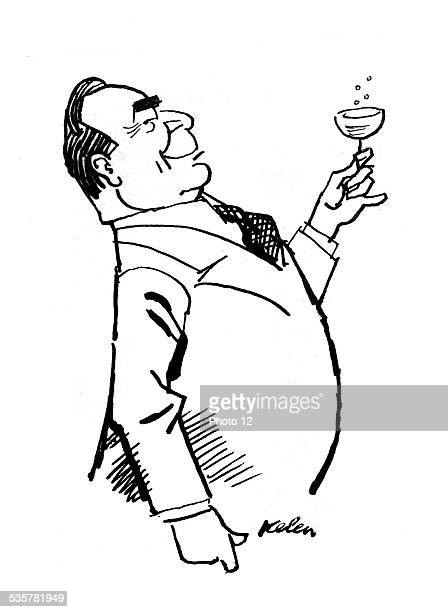 Caricature of Leonid Ilitch Brejnev Drawing by Kelen 20th century USSR