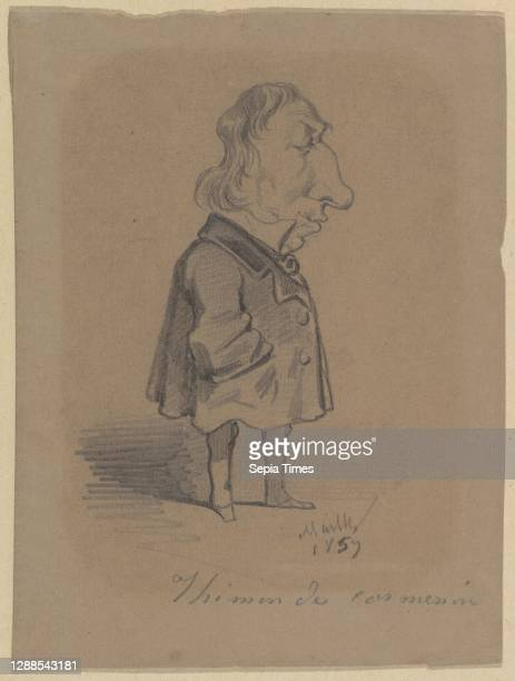 Caricature of Louis Marie de la Haye, Vicomte de Cormenin Black chalk on brown paper, Sheet: 7 1/16 x 5 3/8 in. , Drawings, Hippolyte Mailly , After...