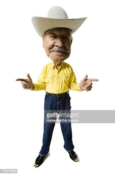 Caricature of man with cowboy hat and moustache