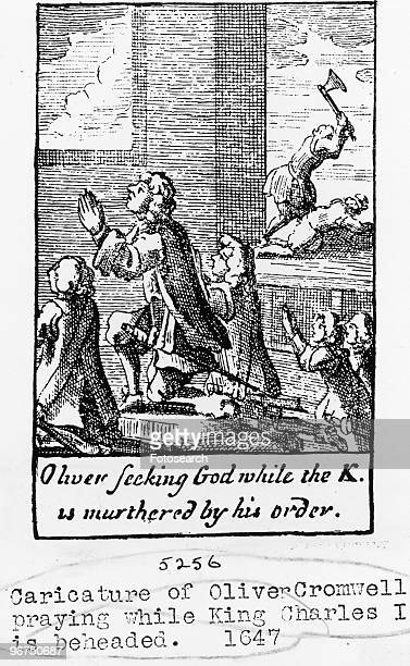 Caricature of Oliver Cromwell praying while King Charles I is beheaded with the caption 'Oliver seeking God while the K is murdered by his order'...