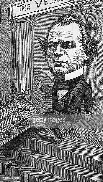 Caricature of President Andrew Johnson vetoing the Freedman's Bureau. He is kicking a dresser full of African American men down steps. Ca. 1829-1937.