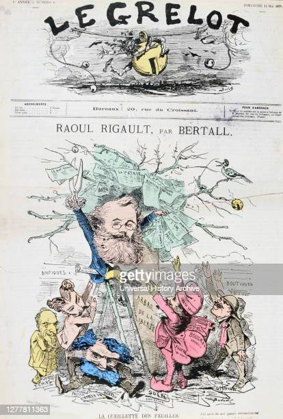 Caricature of Raoul Rigault by bertall, 14th May 1871. Rigault was one of the leaders of the Paris Commune. He was shot on 24th May 1871 by...