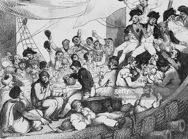 A caricature of RearAdmiral Sir Horatio Nelson aboard HMS Vanguard with his Jack Tars after the Battle of the Nile during the French Revolutionary...