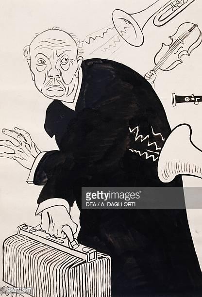 Caricature of Richard Strauss leaving for the United States. 20th century. Vienna, Historisches Museum Der Stadt Wien