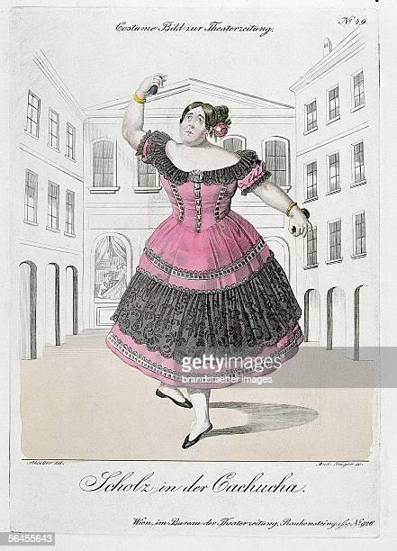 Caricature of the Ballerina Fanny Eissler Coloured copper engraving 1837 [Parodie auf die Ballerina assoluta Fanny Elssler [Wenzel] Scholz in der...