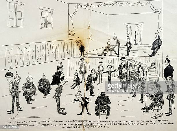 Caricature of the first rehearsal of The Girl of the West by Giacomo Puccini depicting among others Enrico Caruso and Arturo Toscanini Italy 20th...