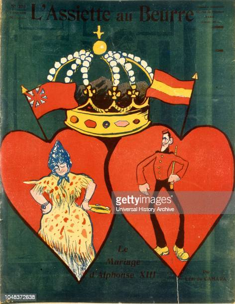 caricature of the marriage of the Spanish King Alfonso XIII1906 Illustration from 'L'Assiette au Beurre' an illustrated French weekly satirical...