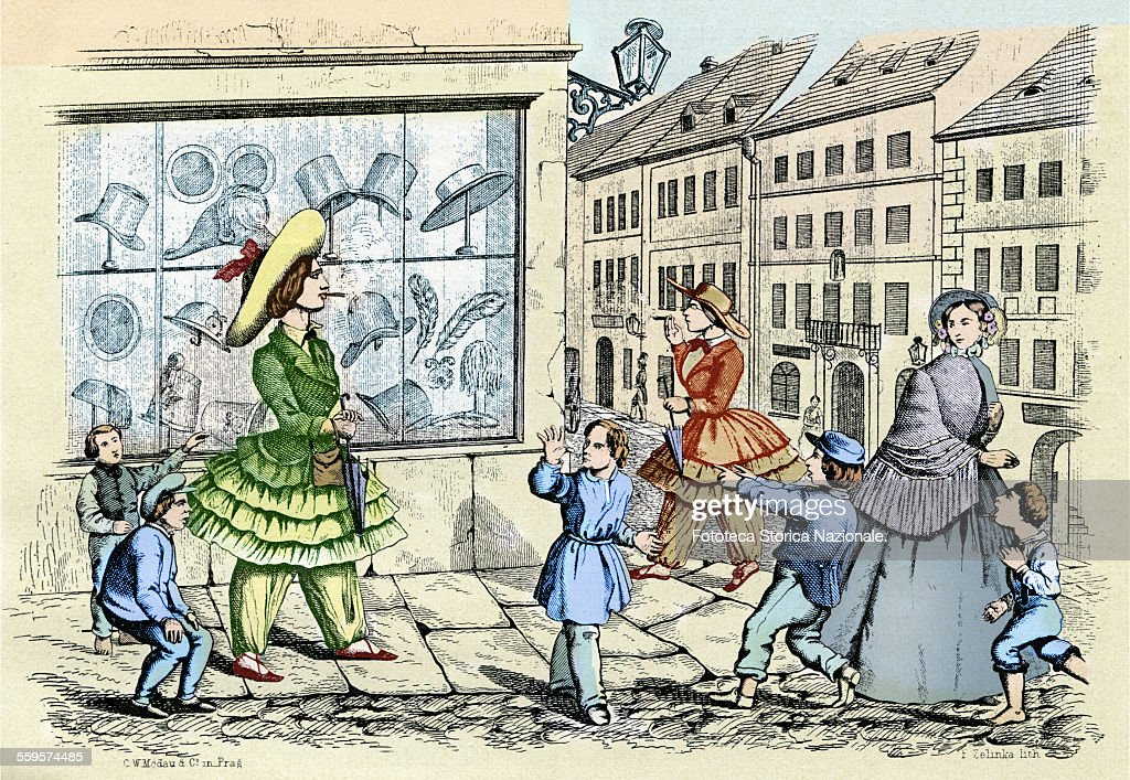 Caricature of the phenomenon called bloomerism, term derived from the diffusion of feminists ideas by Amelia Bloomer (1818 - 1894) american activist, known for its commitment in favor of the rights of women. The cartoon depicts women with clothes and male attitudes ridiculed and taken in turn by kids flippant. Prague, approx. 1850. (Photo by Fototeca Gilardi/Getty Images).