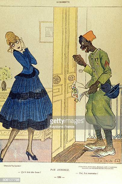 Caricature of wartime godmother and French army soldier, circa 1914 in France.