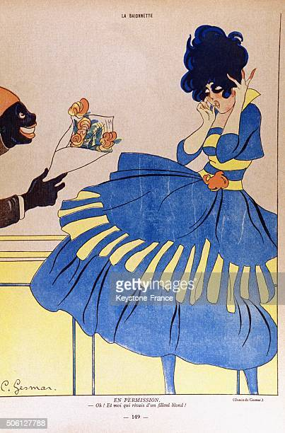 Caricature of wartime godmother with French army soldier arriving at her home, circa 1914 in France.