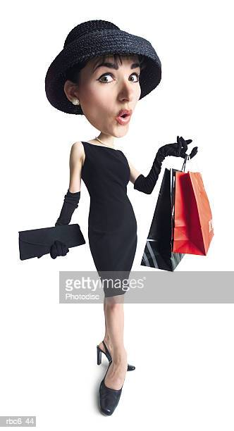 caricature of young caucasian woman in black dress and hat as she continues her fun shopping spree