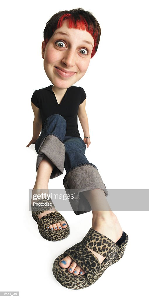 caricature of young caucasian woman in jeans and black shirt legs outstretched sitting and smiling : Foto de stock