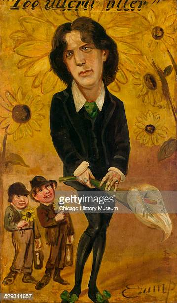 Caricature painting of Oscar O'Flaherite Wills Wilde Painted by Edward Jump oil on canvas on masonite board 18801885