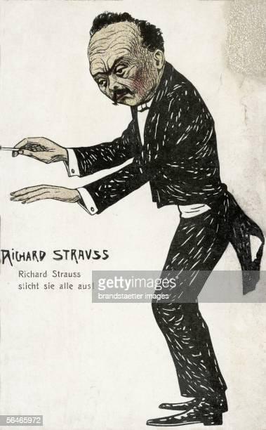 Caricature Richard Strauss. Postcard. Around 1910. [Karikatur Richard Strauss. Postkarte. Um 1910]