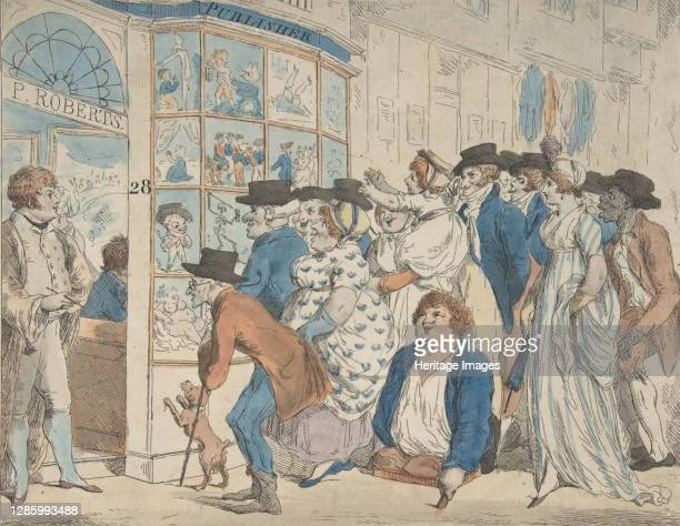 Caricature Shop of Piercy Roberts, 28 Middle Row, Holborn, 1801. Artist Piercy Roberts.