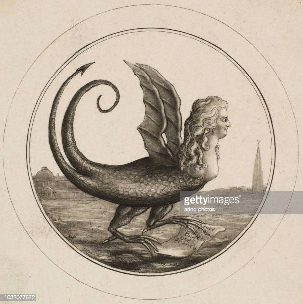 Caricature Showing Marie Antoinette as a Dragon Engraving