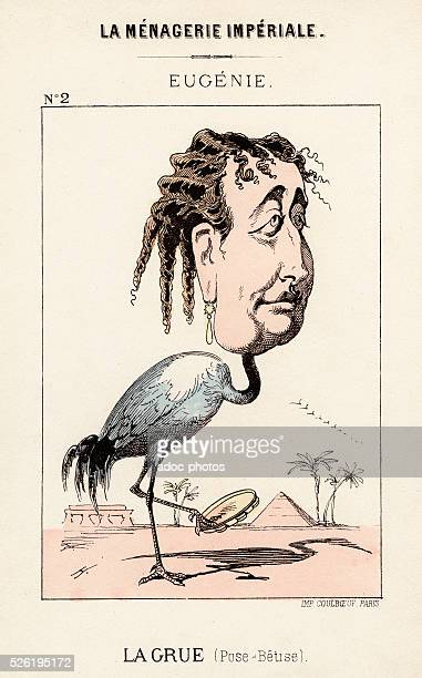 """Caricature showing the Empress Eug��nie de Montijo as a crane. Published in """"La M��nagerie Imp��riale"""" by Paul Hadol in 1870. Lithography in colour."""
