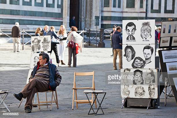 Caricature Street Artist in Piazza del Duomo, Florence, Italy