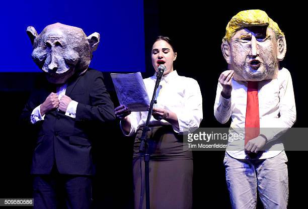 Caricatures of Vladimir Putin and Donald Trump perform during the Pussy Riot in conversation with Zarina Zabrisky performance at The Warfield Theater...