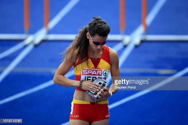Caridad Jerez of Spain prepares to start in the Women's 100m Hurdles heats during day two of the 24th European Athletics Championships at...