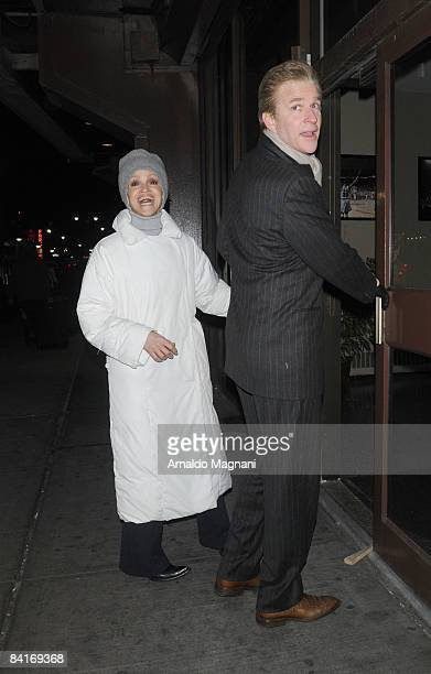 Caridad Rivera and Matthew Modine arrive at Madison Square Garden for the New York Knicks game against the Boston Celtics on January 4 2009 in New...