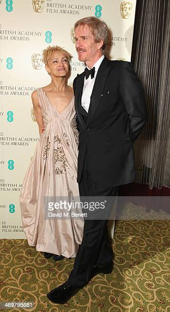 Caridad Rivera and Matthew Modine attend the official dinner party after the EE British Academy Film Awards at The Grosvenor House Hotel on February...