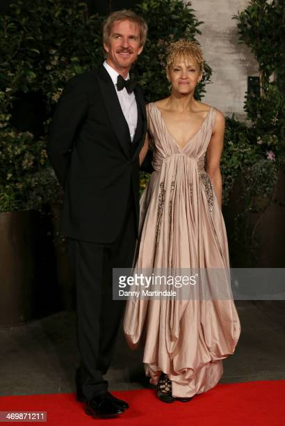 Caridad Rivera and Matthew Modine attends an official dinner party after the EE British Academy Film Awards at The Grosvenor House Hotel on February...