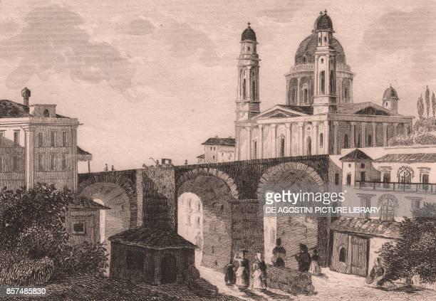 Carignano bridge and Basilica of St Mary of the Assumption in Carignano Genoa Liguria Italy steel engraving ca 8x12 cm from Italie pittoresque...