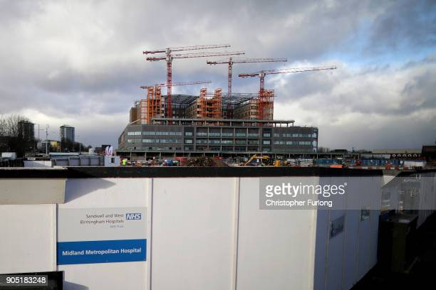 Carillion Company signage is seen outside the Midland Metropolitan Hospital in Smethwick which is being built by construction company Carillion on...