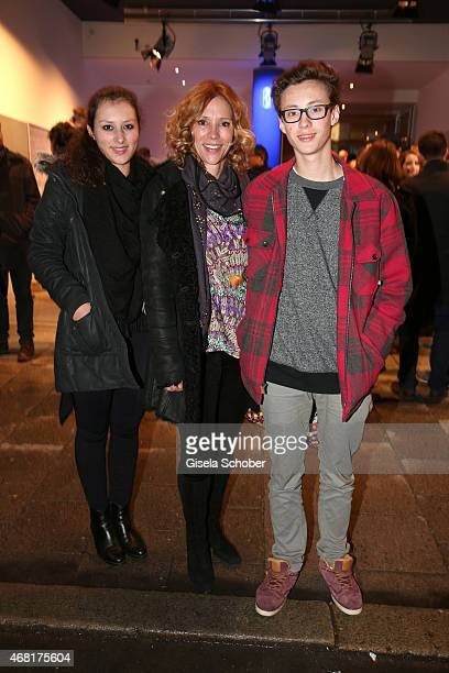 Carin C Tietze and her daughter Lilly and her son Fausto during the Munich premiere of the film 'Mara und der Feuerbringer' at Arri Kino on March 30...