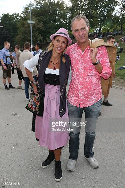 Carin C Tietze and her husband Florian Richter during the Oktoberfest 2015 Opening at Hofbraeu beer tent at Theresienwiese on September 19 2015 in...
