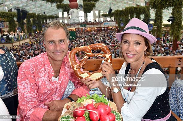 Carin C Tietze and her husband Florian Richter sighted at the Hofbraeu beer tent during the Oktoberfest 2015 Opening at Theresienwiese on September...
