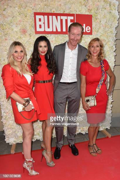Carin C Tietze Jeanette Graf Malte Wiedemeyer and Alessandra Geissel during the 'Red Summer Night Of Bunte' at Bar Lehel on July 18 2018 in Munich...