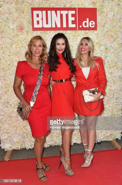 Carin C Tietze Jeannette Graf and Alessandra Geissel during the 'Red Summer Night Of Bunte' at Bar Lehel on July 18 2018 in Munich Germany