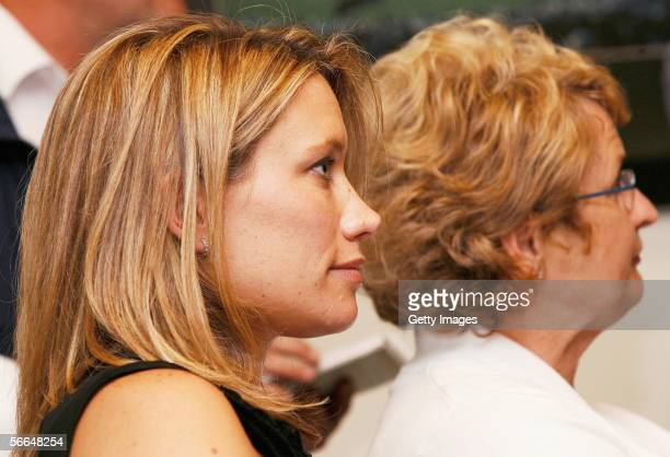 Carin Cairns wife of New Zealand cricketer Chris Cairns along with his mother Sue Wilson watch his news conference January 23 2006 in Christchurch...