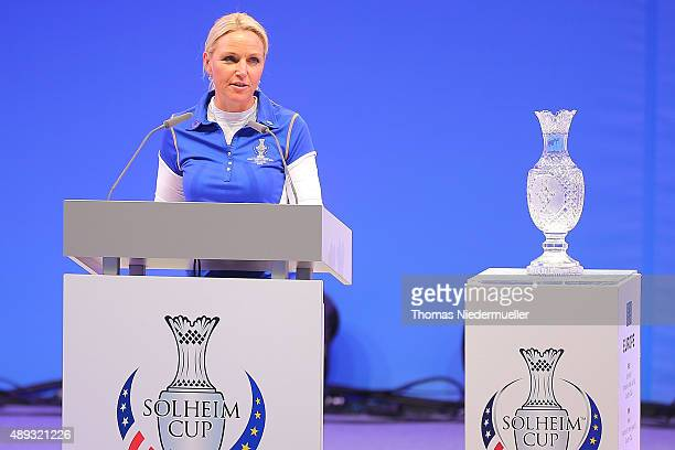 Carin Coch captain of the European Team talks during the closing ceremony at the 2015 Solheim Cup at St LeonRot Golf Club on September 20 2015 in...