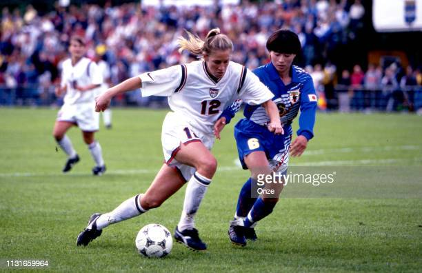 Carin Gabarra of USA and Kae Nishina of Japan during the Women's world cup match between Japan and United States on June 13th, 1995 at Stadium Gavle...