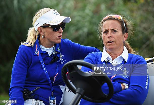 Carin Koch captain of team Europe and Fanny Sunesson look on during the singles matches of The Solheim Cup at St LeonRot Golf Club on September 20...