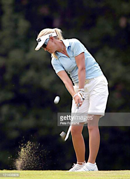 Carin Koch competes during the third round of the Weetabix Women's British Open at the Sunningdale Golf Club on July 31 2004