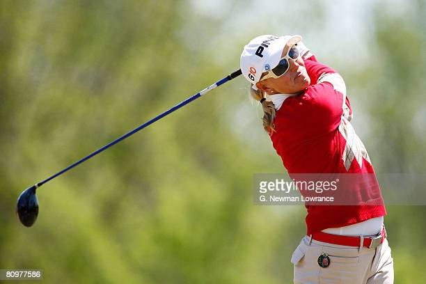 Carin Koch of Sweden hits a tee shot on the 12th hole during the third round of the SemGroup Championship presented by John Q Hammons on May 3 2008...