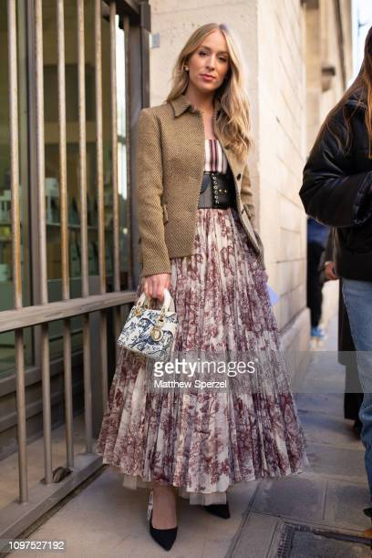 Carin Olsson is seen on the street attending CHRISTIAN DIOR during Paris Haute Couture Fashion Week wearing Dior dress and bag on January 21 2019 in...