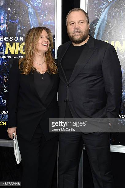 Carin van der Donk and Actor Vincent D'Onofrio attend the Run All Night New York Premiere at AMC Lincoln Square Theater on March 9 2015 in New York...