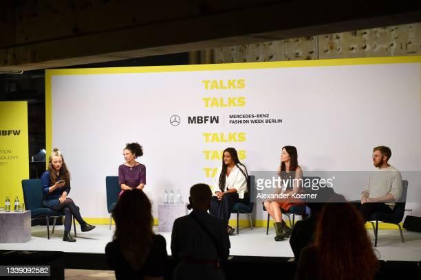 "Carina Bischof, Orsola de Castro, Sophie Tendai Christiaens, Dr. Monika Hauck and Dr. Karsten Pufahl speak during the ""Fashion Open Studio x MBFW""..."